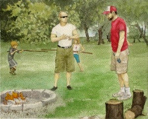 Two children have a mock sword fight in the background as two adults talk by a fire pit.