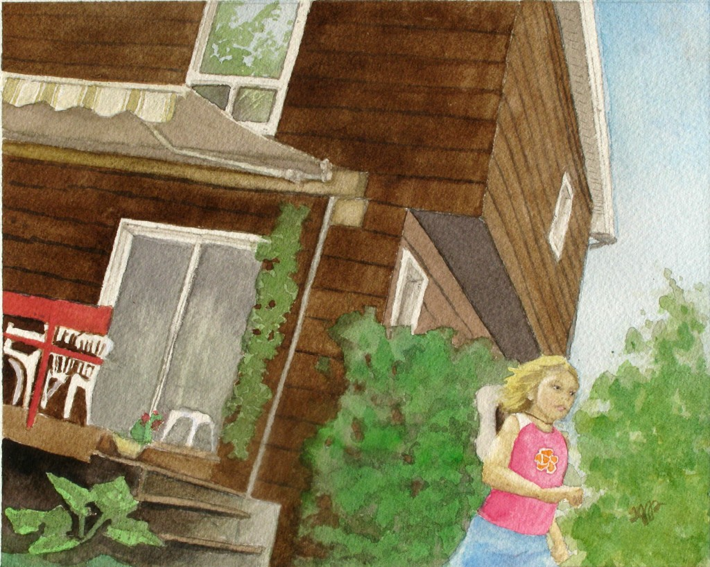 A child runs away from a cabin