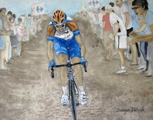 Canadian Cyclist Ryder Hesjedal in the Tour de France, Watercolour, 8X10 ($265.00)