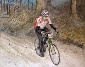 Jon Bikes in Paris To Ancaster Race, Watercolour, 8X10 ($265.00)