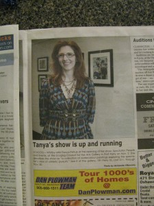 Newspaper coverage of Tanya's show opening at Scugog Council For The Arts Gallery