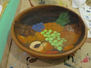 Terracotta pottery prepared for painting by Whitby art  class artist instructor Tanya Petruk