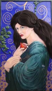 Jane Morris As Proserpine by Tanya Petruk. Woodcarving, acrylic, hair, epoxy (2015)