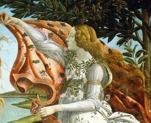Side figure from Birth Of Venus By Sandro Botticelli