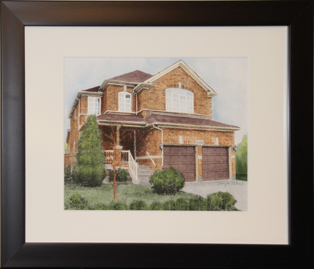House Portrait Example of Real Estate Closing Gift Or Housewarming Gift By Artist Tanya Petruk