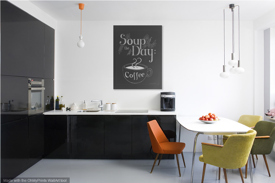 Soup Of The Day: Coffee chalkboard art print design by Tanya Petruk for ART AT HOME
